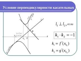Условие перпендикулярности касательных y = f (x) y = g (x) y x 0 φ x02 x01 l1