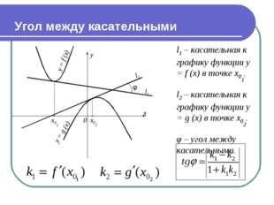Угол между касательными y = f (x) l1 – касательная к графику функции y = f (x