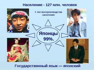 Японцы 99%. Население - 127 млн. человек Государственный язык — японский 1 т