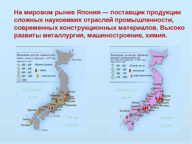 На мировом рынке Япония — поставщик продукции сложных наукоемких отраслей про...