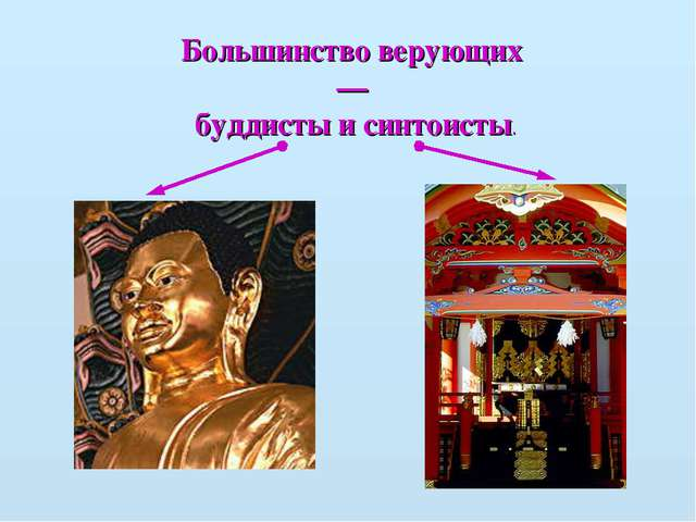 Большинство верующих — буддисты и синтоисты.