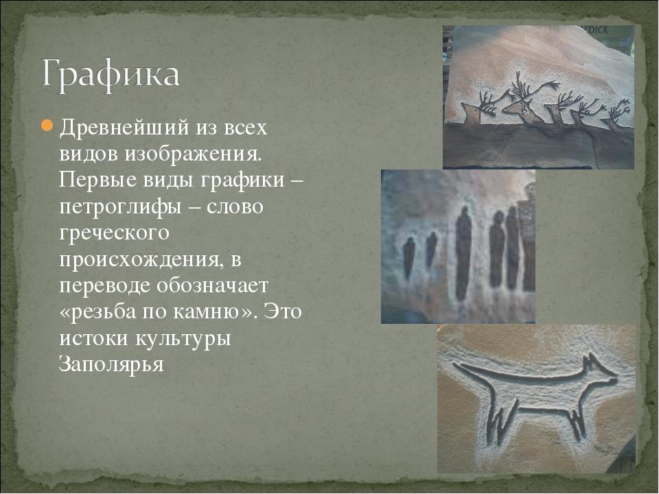Древнейший из всех видов изображения. Первые виды графики – петроглифы – слов...