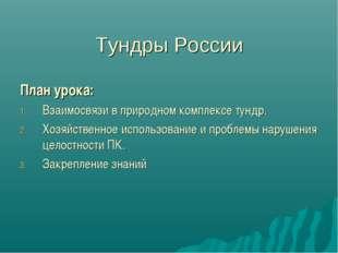 Тундры России План урока: Взаимосвязи в природном комплексе тундр. Хозяйствен