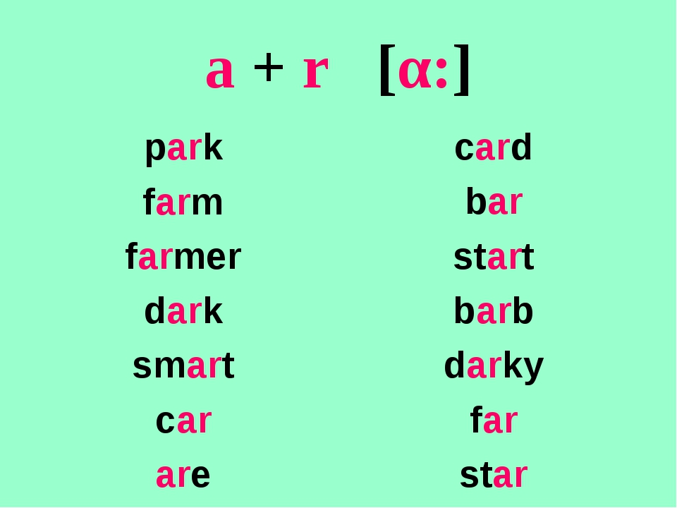 a + r [α:] park farm farmer dark smart car are card bar start barb darky far...