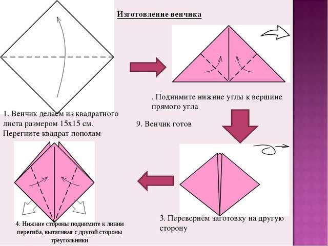 . Поднимите нижние углы к вершине прямого угла 1. Венчик делаем из квадратног...