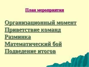 План мероприятия Организационный момент Приветствие команд Разминка Математич