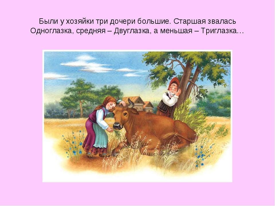Были у хозяйки три дочери большие. Старшая звалась Одноглазка, средняя – Двуг...