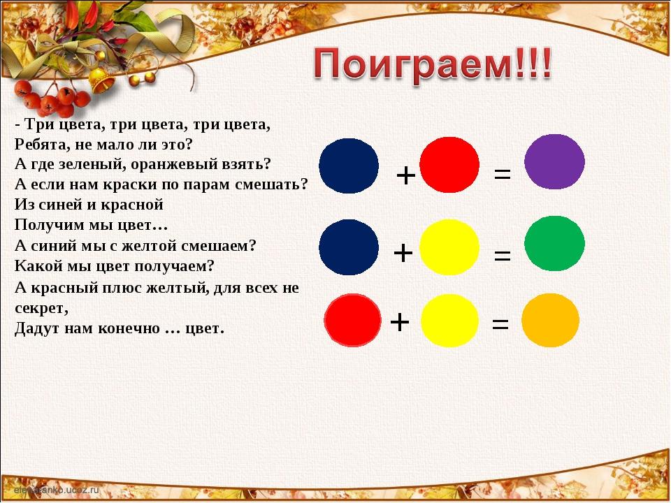 = + + = + = А красный плюс желтый, для всех не секрет, Дадут нам конечно … цв...