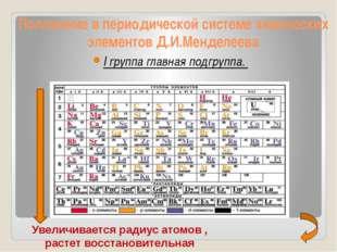 Положение в периодической системе химических элементов Д.И.Менделеева I груп