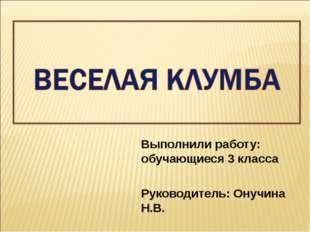 Выполнили работу: обучающиеся 3 класса Руководитель: Онучина Н.В.