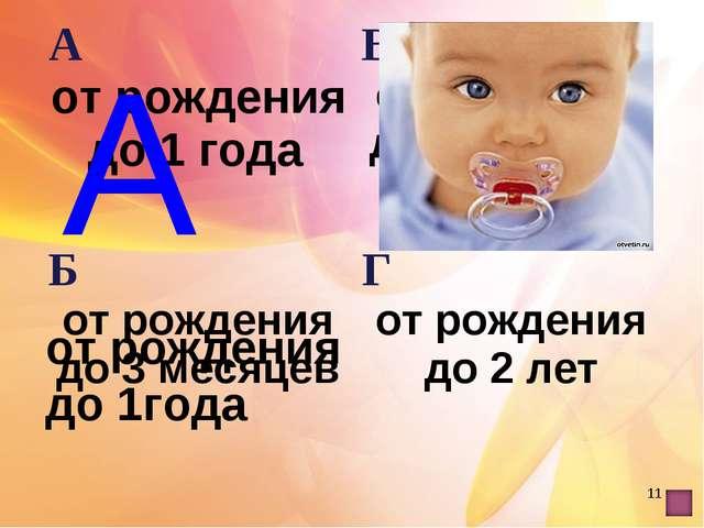 * А от рождения до 1года А от рождения до 1 года В от рождения до 6 месяцев...