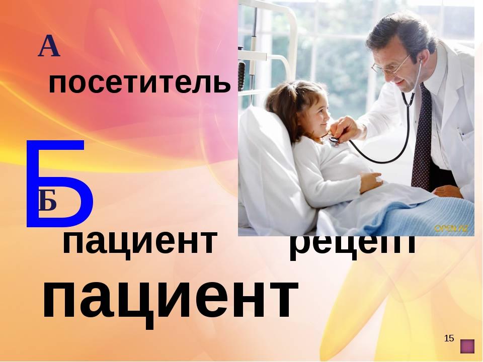 * Б пациент А посетительВ клиент Б пациентГ рецепт