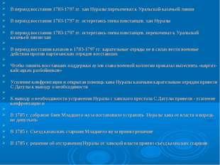 В период восстания 1783-1797 гг. хан Нуралы перекочевал к Уральской казачьей