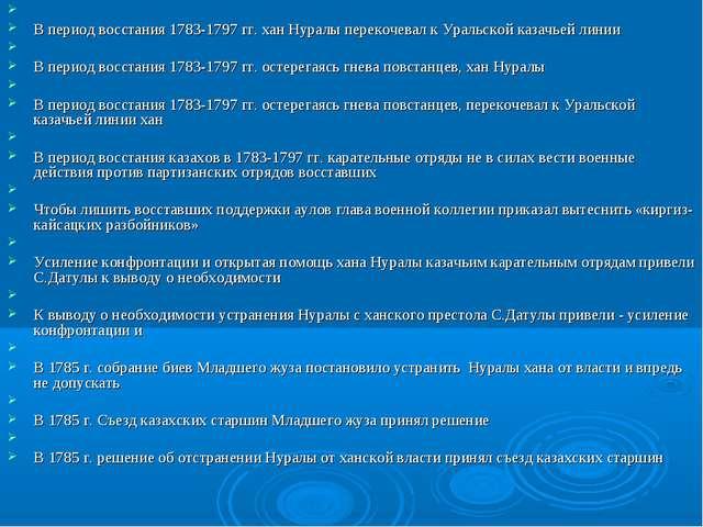 В период восстания 1783-1797 гг. хан Нуралы перекочевал к Уральской казачьей...