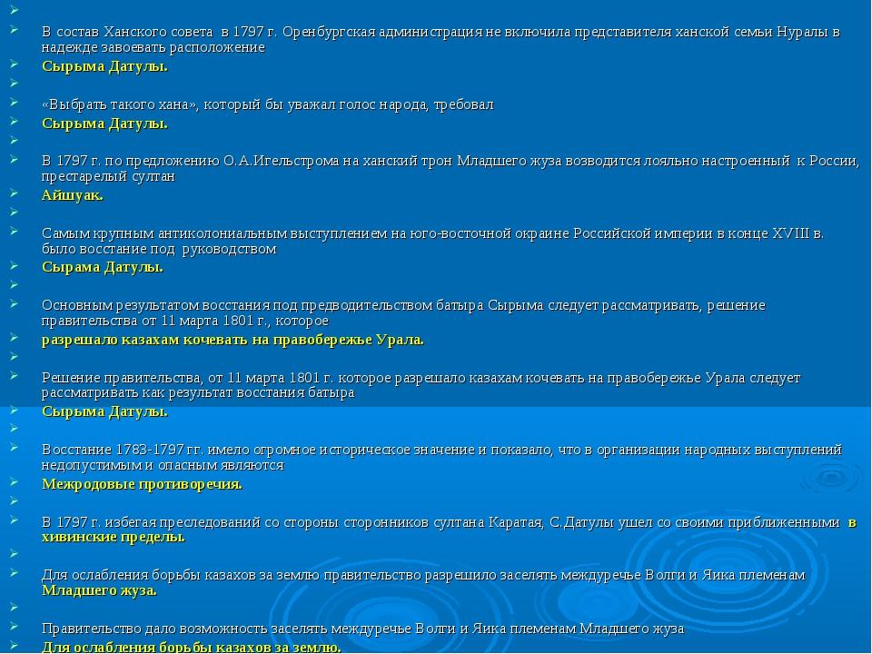 В состав Ханского совета в 1797 г. Оренбургская администрация не включила пр...