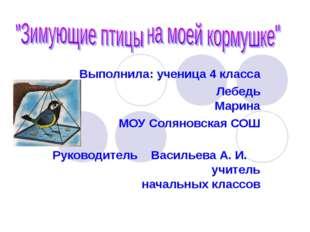Выполнила: ученица 4 класса Лебедь Марина МОУ Соляновская СОШ  Руководитель