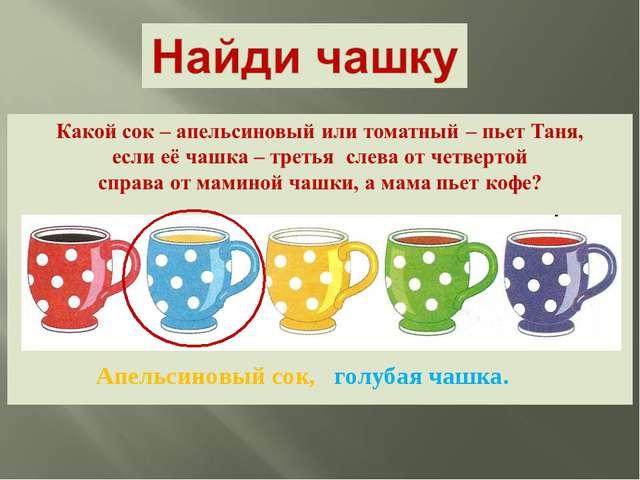 Апельсиновый сок, голубая чашка.