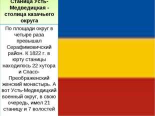 Станица Усть-Медведицкая - столица казачьего округа По площади округ в четыре