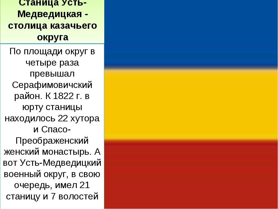 Станица Усть-Медведицкая - столица казачьего округа По площади округ в четыре...