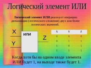 Логический элемент ИЛИ реализует операцию дизъюнкции (логического сложения) д