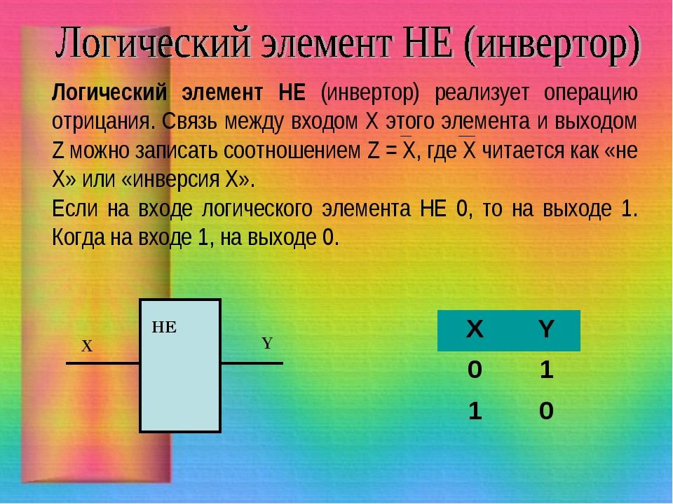 Логический элемент НЕ (инвертор) реализует операцию отрицания. Связь между вх...