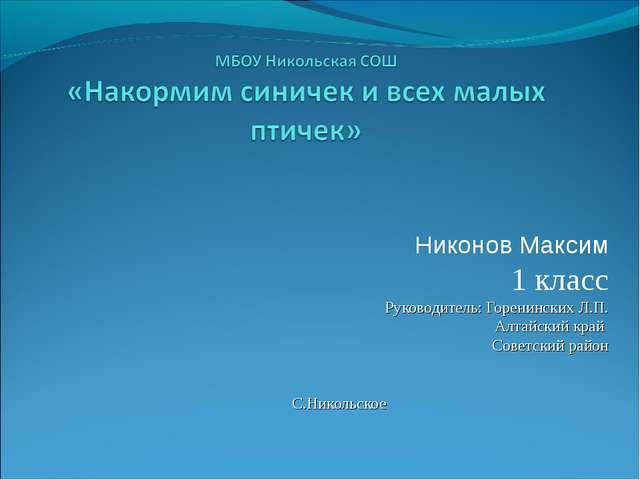 Никонов Максим 1 класс Руководитель: Горенинских Л.П. Алтайский край Советски...