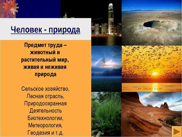 Человек - природа Предмет труда – животный и растительный мир, живая и нежива...