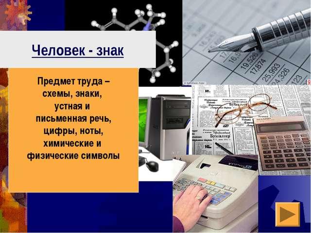 Человек - знак Предмет труда – схемы, знаки, устная и письменная речь, цифры,...