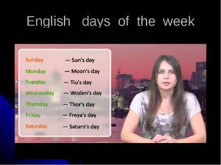 English days of the week