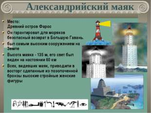 Александрийский маяк Место: Древний остров Фарос Он гарантировал для моряков