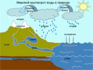 испарение океан Подземные воды река озеро ледники осадки осадки осадки Перено