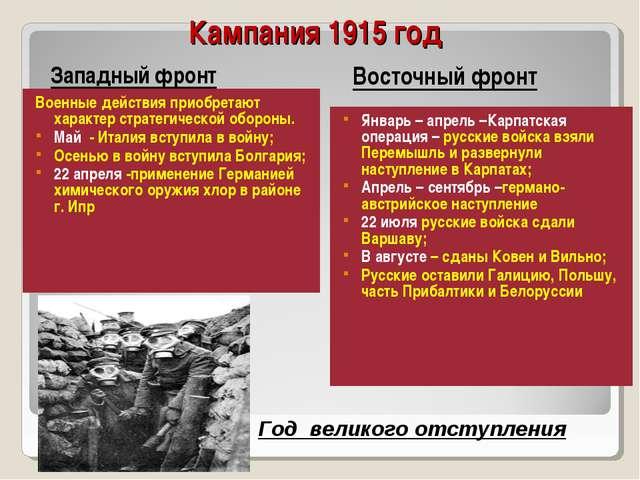 Кампания 1915 год Военные действия приобретают характер стратегической оборон...