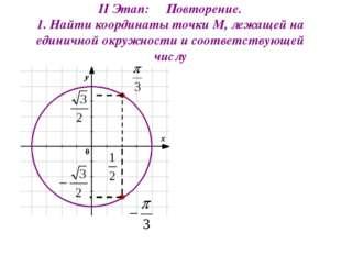 II Этап: Повторение. 1. Найти координаты точки М, лежащей на единичной окружн