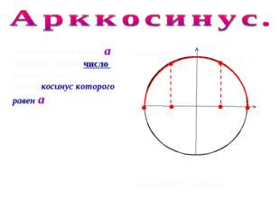 π 0 arccos а Арккосинусом числа а называют такое число из промежутка [0;π ],