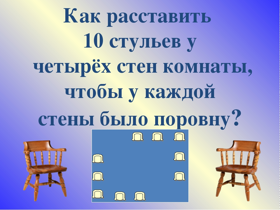 Как расставить 10 стульев у четырёх стен комнаты, чтобы у каждой стены было п...