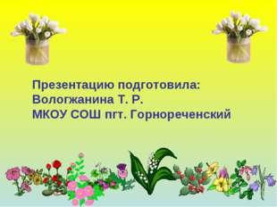 Презентацию подготовила: Вологжанина Т. Р. МКОУ СОШ пгт. Горнореченский