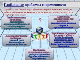 Глобальные проблемы современности «globus» – лат. Земной шар – общепланетарны