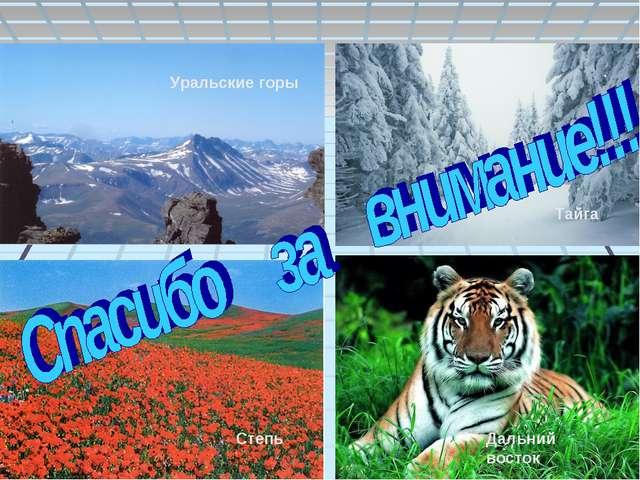 Уральские горы Тайга Степь Дальний восток Уральские горы