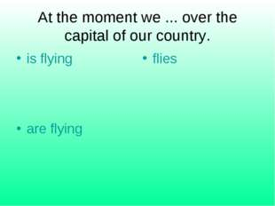 At the moment we ... over the capital of our country. is flying flies are fly