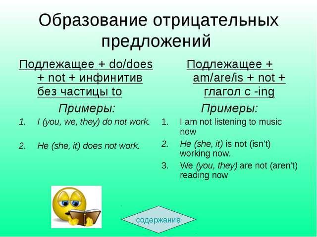 Образование отрицательных предложений содержание