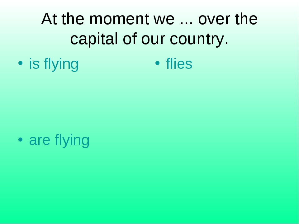 At the moment we ... over the capital of our country. is flying flies are fly...