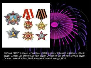Ордена СССР:1-орден « Победа»,1943;2-орден «Красного знамени»,1924;3- орден С