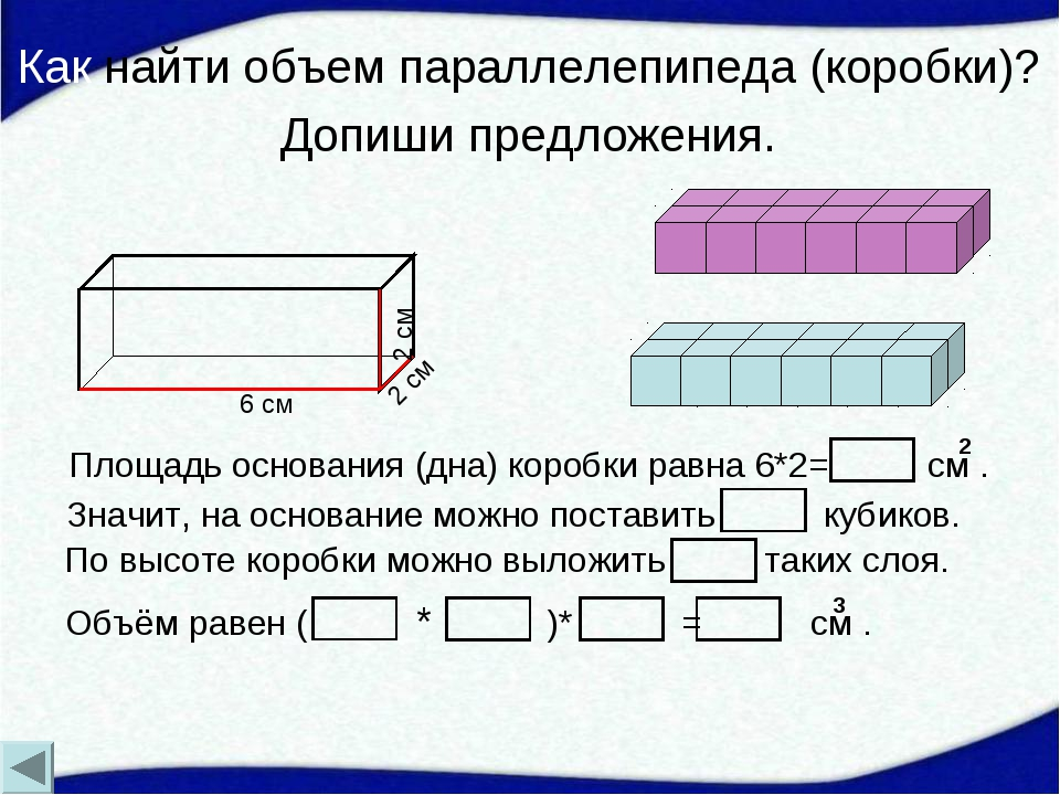 Как найти объем параллелепипеда (коробки)? Допиши предложения. Объём равен (...