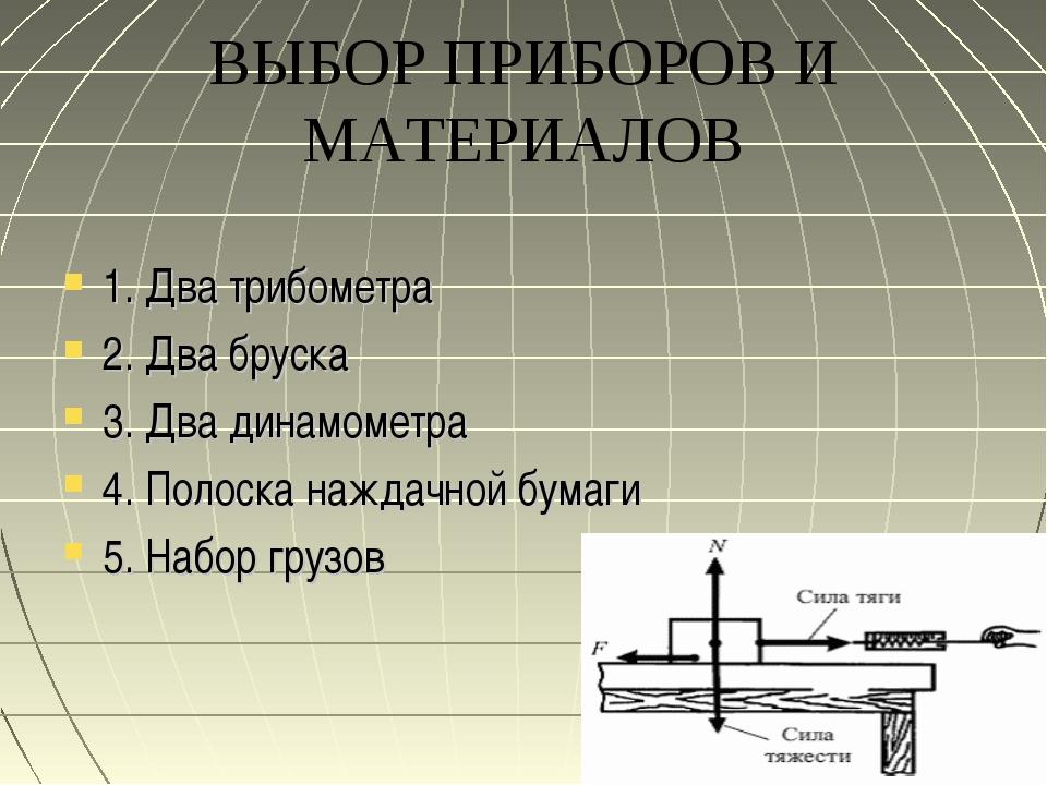 ВЫБОР ПРИБОРОВ И МАТЕРИАЛОВ 1. Два трибометра 2. Два бруска 3. Два динамометр...
