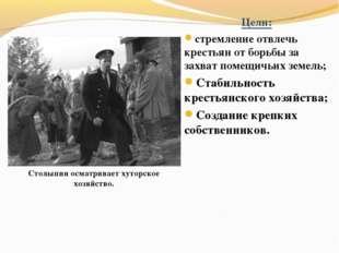 Цели: стремление отвлечь крестьян от борьбы за захват помещичьих земель; Стаб