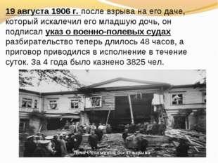 Дача Столыпина после взрыва. 19 августа 1906 г. после взрыва на его даче, кот