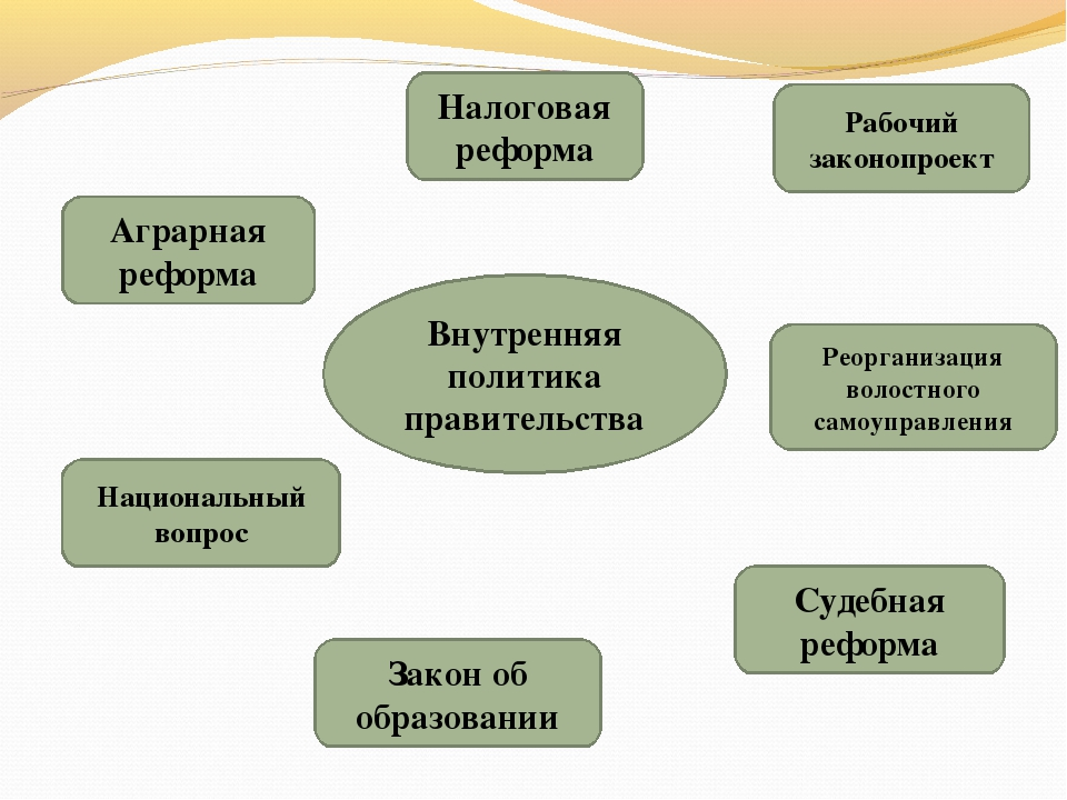 Внутренняя политика правительства Аграрная реформа Закон об образовании Налог...