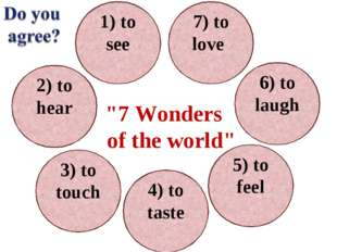 1) to see 7) to love 6) to laugh 5) to feel 2) to hear 3) to touch 4) to tast