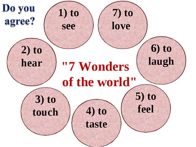 1) to see 7) to love 6) to laugh 5) to feel 2) to hear 3) to touch 4) to tast...