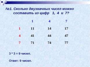 №1. Сколько двузначных чисел можно составить из цифр 1, 4 и 7? 3 * 3 = 9 чисе